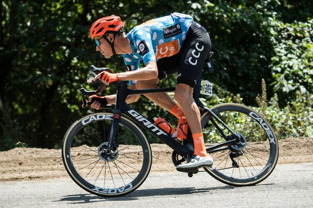Picture by Alex Broadway/ASO/SWpix.com - 13/08/20 - Cycling - 2019 Criterium du Dauphine - Stage Two - Vienne to Col de Porte - Michael Schar of CCC Team rides during the stage.