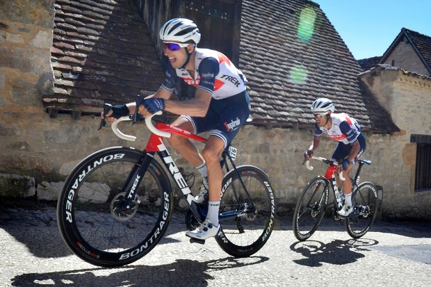 Trek-Segafredo riders on Trek bikes
