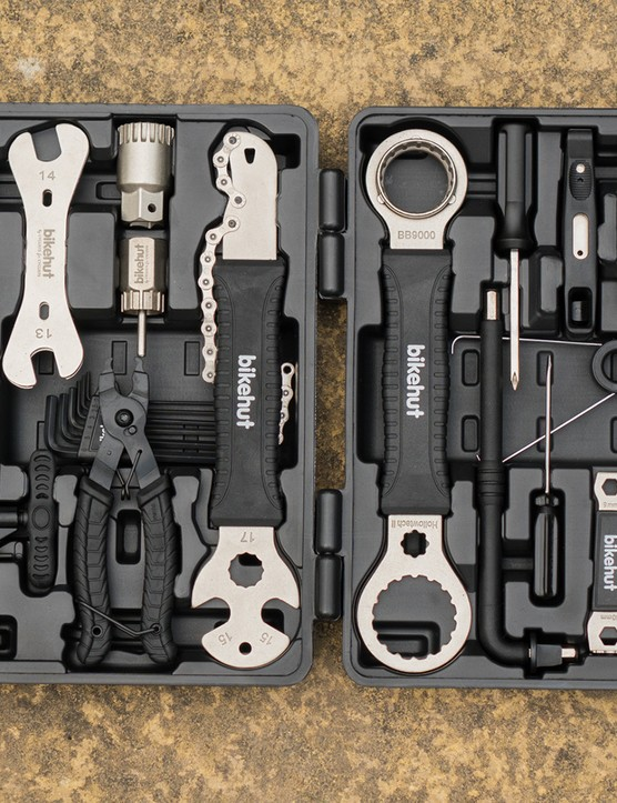 Halfords Bikehut 30pc Bike Tool Kit shown in its plastic carrying case