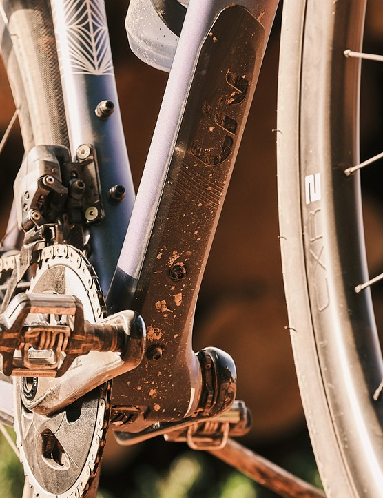 The Liv Devote Advanced Pro women's gravel bike has a bashguard on the downtube