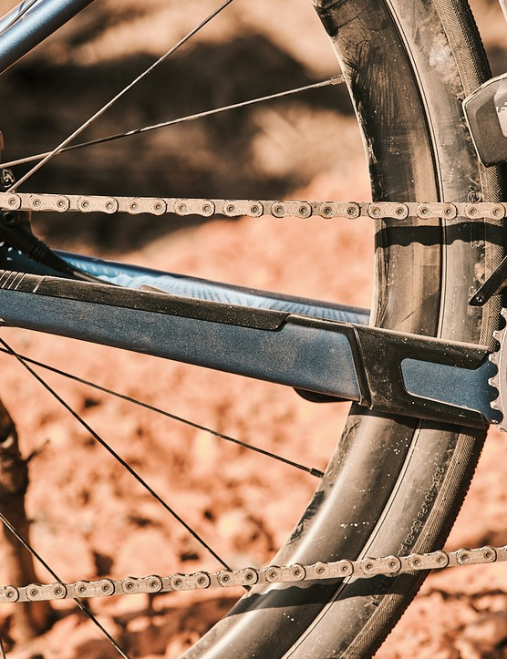 The Liv Devote Advanced Pro women's gravel bike has a protector on the chainstay