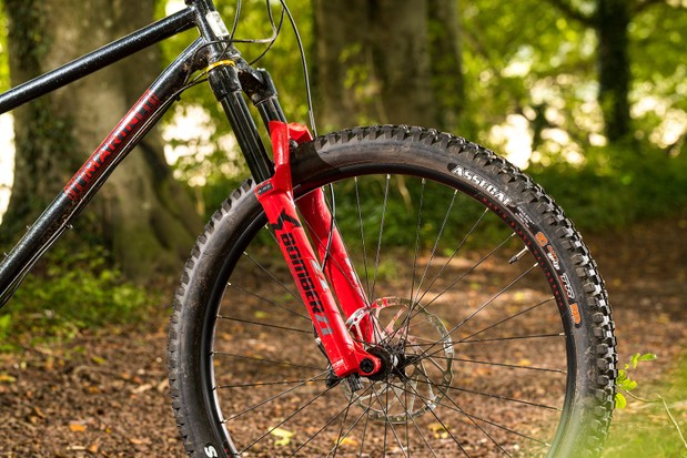 Marzocchi Z1 suspension fork on a hardtail mountain bike