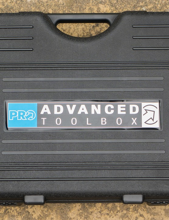 The box of the PRO bike tools Advanced Toolbox has a high quality feel