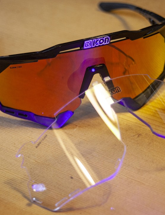 Scicon Aeroshade sunglasses are supplied with a second clear lens