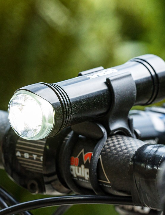 Angled view of the Exposure Sirius MK9 front road cycling light