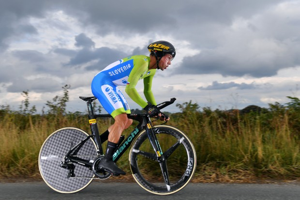 HARROGATE, ENGLAND - SEPTEMBER 25: Primoz Roglic of Slovenia / during the 92nd UCI Road World Championships 2019, Individual Time Trial Men Elite a 54km race from Northhallerton to Harrogate 121m / ITT / @Yorkshire2019 / #Yorkshire2019 / on September 25, 2019 in Harrogate, England. (Photo by Tim de Waele/Getty Images)