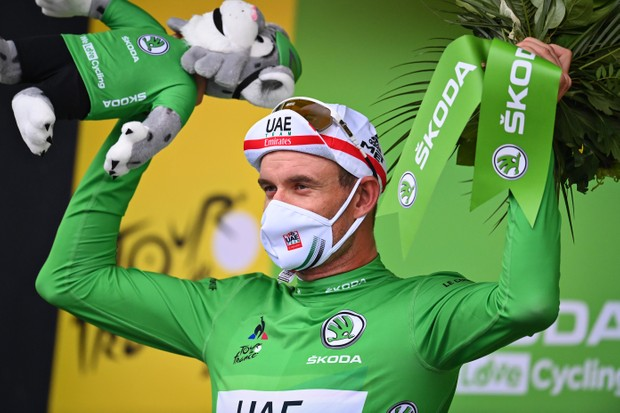 Norwegian Alexander Kristoff of UAE Team Emirates celebrates on the podium in the green jersey of leader in the sprint ranking after the first stage of the 107th edition of the Tour de France cycling race, 156km from Nice to Nice, in France, Saturday 29 August 2020. This year's Tour de France was postponed due to the worldwide Covid-19 pandemic. The 2020 race starts in Nice on Saturday 29 August and ends on 20 September. BELGA PHOTO POOL PHOTONEWS (Photo by POOL PHOTONEWS/BELGA MAG/AFP via Getty Images)