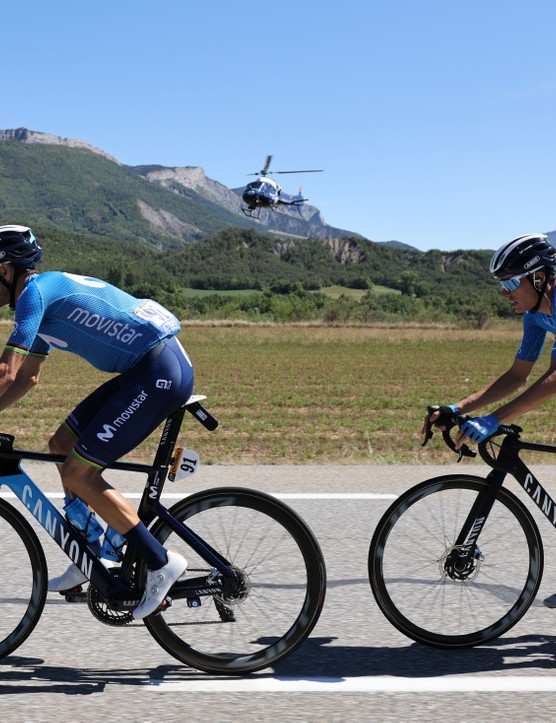 Team Movistar rider Spain's Alejandro Valverde (L) and Team Movistar rider Spain's Enric Mas ride  during the 4th stage of the 107th edition of the Tour de France cycling race, 157 km between Sisteron and Orcieres-Merlette, on September 1, 2020. (Photo by Kenzo Tribouillard / AFP) (Photo by KENZO TRIBOUILLARD/AFP via Getty Images)
