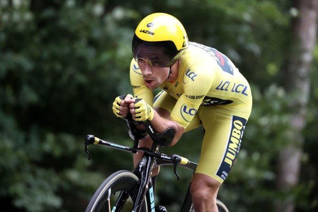 Team Jumbo rider Slovenia's Primoz Roglic wearing the overall leader's yellow jersey rides during the 20th stage of the 107th edition of the Tour de France cycling race, a time trial of 36 km between Lure and La Planche des Belles Filles, on September 19, 2020. (Photo by KENZO TRIBOUILLARD / AFP) (Photo by KENZO TRIBOUILLARD/AFP via Getty Images)
