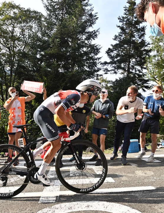 Team Trek rider Australia's Richie Porte competes during the 20th stage of the 107th edition of the Tour de France cycling race, a time trial of 36 km between Lure and La Planche des Belles Filles, on September 19, 2020. (Photo by Anne-Christine POUJOULAT / AFP) (Photo by ANNE-CHRISTINE POUJOULAT/AFP via Getty Images)