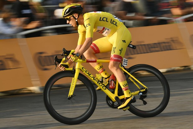 Custom-painted bikes for Tadej Pogačar and Sam Bennett on the final stage of the Tour de France
