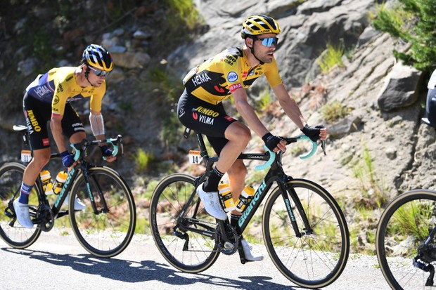 ORCIERES, FRANCE - SEPTEMBER 01: Tom Dumoulin of The Netherlands and Team Jumbo - Visma / Primoz Roglic of Slovenia and Team Jumbo - Visma / during the 107th Tour de France 2020, Stage 4 a 160,5km stage from Sisteron to Orcieres-Merlette 1825m / #TDF2020 / @LeTour / on September 01, 2020 in Orcieres, France. (Photo by Tim de Waele/Getty Images)