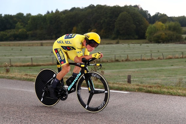 LA PLANCHE, FRANCE - SEPTEMBER 19: Primoz Roglic of Slovenia and Team Jumbo - Visma Yellow Leader Jersey / during the 107th Tour de France 2020, Stage 20 a 36,2km Individual Time Trial stage from Lure to La Planche Des Belles Filles 1035m / ITT / #TDF2020 / @LeTour / on September 19, 2020 in La Planche, France. (Photo by Michael Steele/Getty Images)