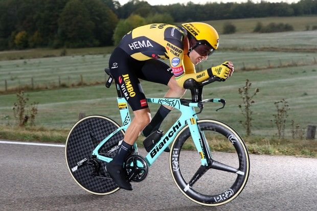LA PLANCHE, FRANCE - SEPTEMBER 19: Tom Dumoulin of The Netherlands and Team Jumbo - Visma / during the 107th Tour de France 2020, Stage 20 a 36,2km Individual Time Trial stage from Lure to La Planche Des Belles Filles 1035m / ITT / #TDF2020 / @LeTour / on September 19, 2020 in La Planche, France. (Photo by Michael Steele/Getty Images)