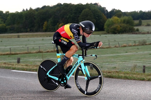 LA PLANCHE, FRANCE - SEPTEMBER 19: Wout Van Aert of Belgium and Team Jumbo - Visma / during the 107th Tour de France 2020, Stage 20 a 36,2km Individual Time Trial stage from Lure to La Planche Des Belles Filles 1035m / ITT / #TDF2020 / @LeTour / on September 19, 2020 in La Planche, France. (Photo by Michael Steele/Getty Images)