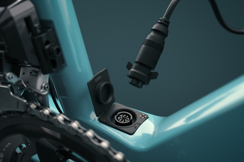 The ebikemotion system on the Orbea Gain Carbon charges via the port at the bottom bracket