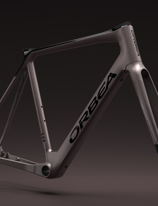 Frame of the Orbea Gain Carbon road eBike in a speed silver paint scheme