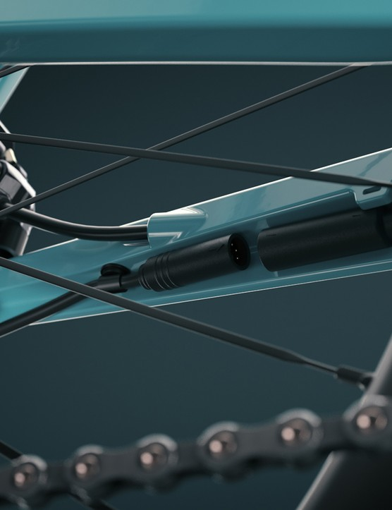 The power line on the Orbea Gain Carbon road eBike is neatly hidden in the chainstay