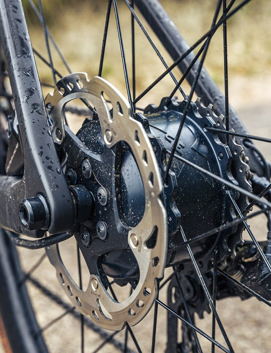 The eBikemotion motor on the Scott Addict eRIDE Premium is housed in the rear hub