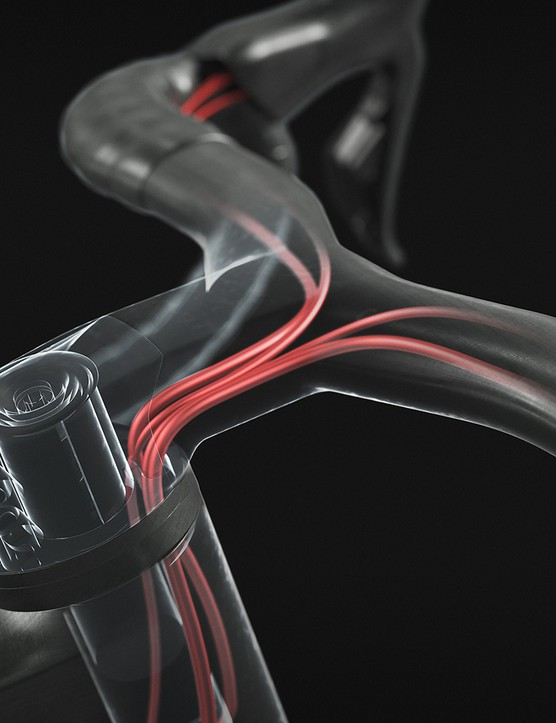 Cable are internally housed in the handlebar/stam and head tube on the Scott Addict eRide