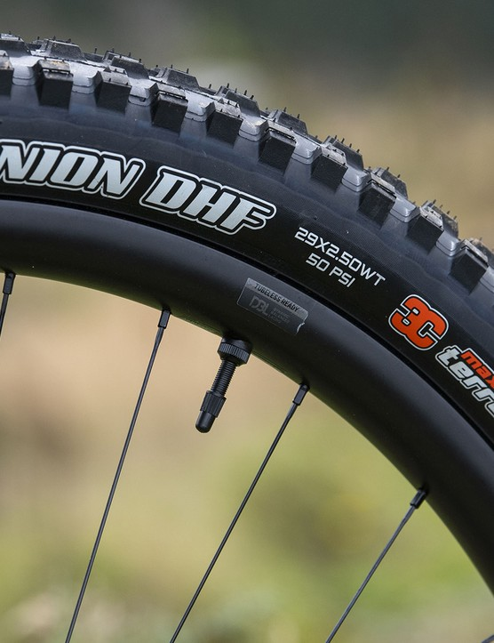 Giants new range of Trance X Advanced Pro 29 full suspension mountain bikes have Maxxis tyre