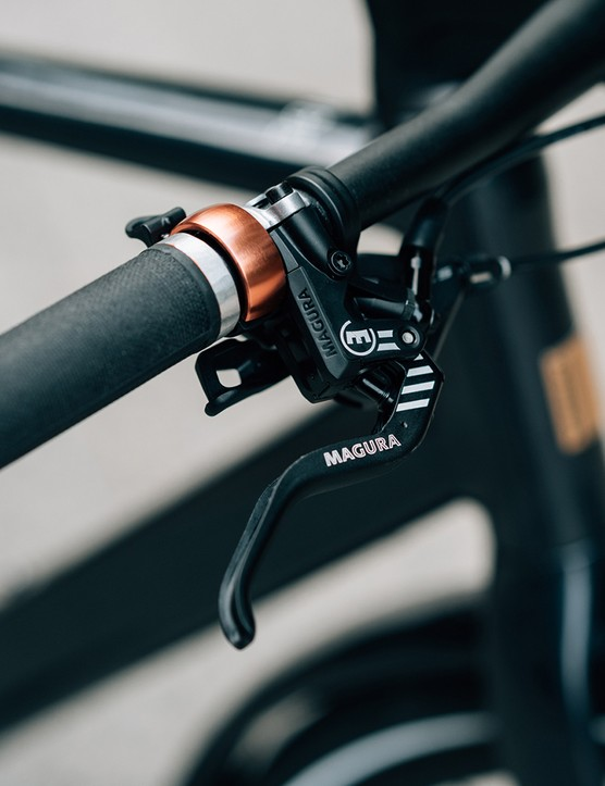 The hydraulic disc brakes on the Orbea Vibe eBike are provide by Magura