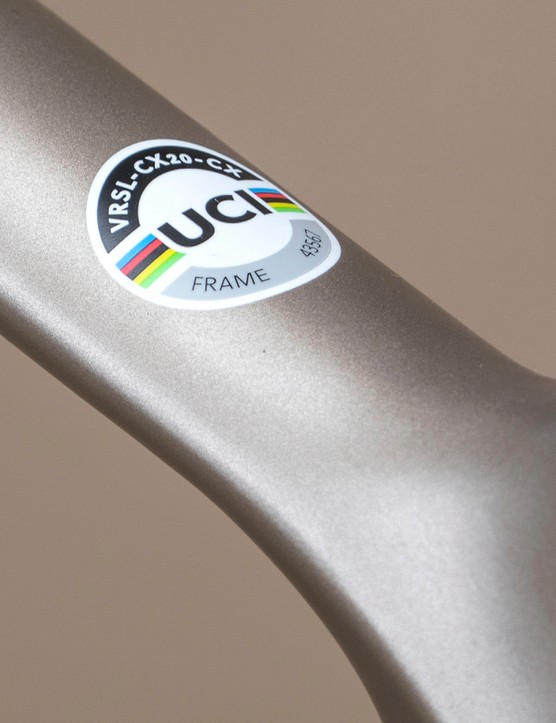 UCI-approved sticker on top tube