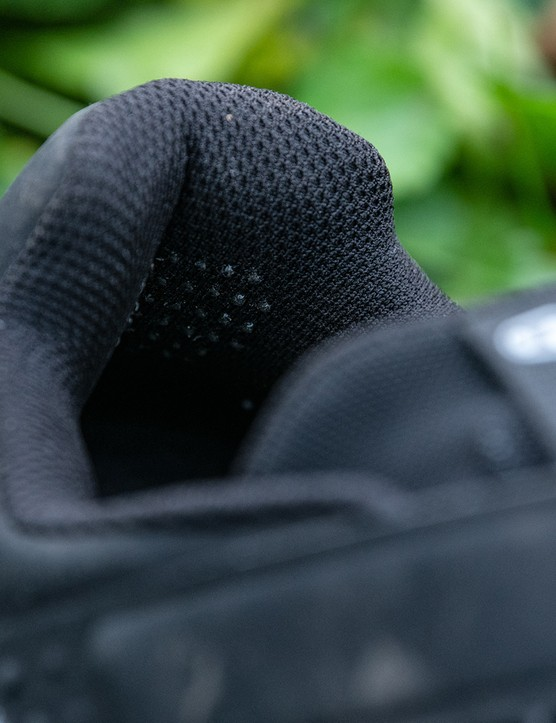 Crank Brothers new Mallet E mountain bike shoe has silicone dots on the inside of the heel to add grip