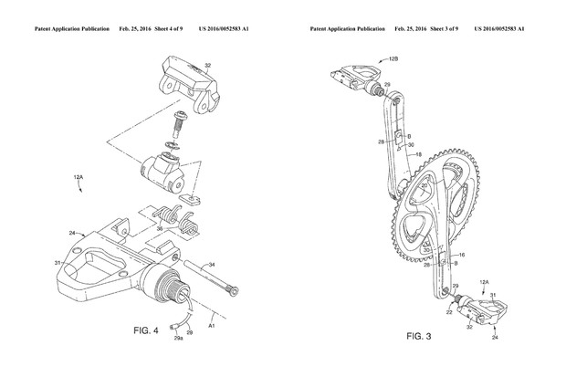 Shimano power meter pedals patent – US20160052583A1 Pedal body and crank detail