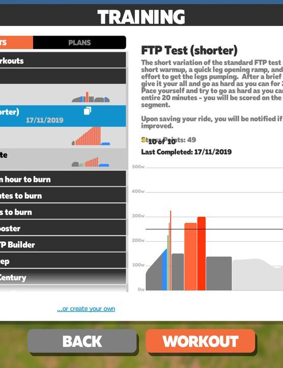 Zwift FTP Test (Shorter)