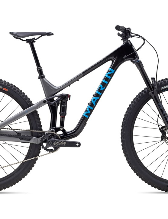 Pack shot of the Marin Alpine Trail carbon 1 full suspension mountain bike