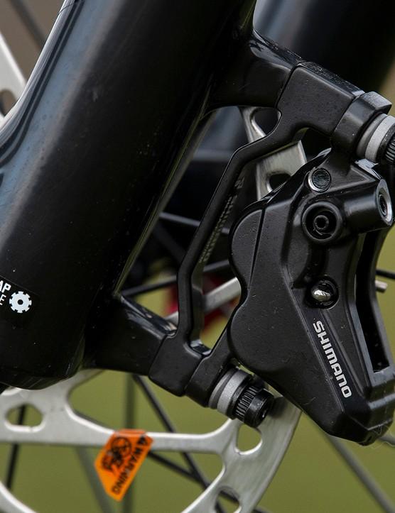 Shimano 4-piston disc brakes on the Marin Alpine Trail full suspension mountain bike