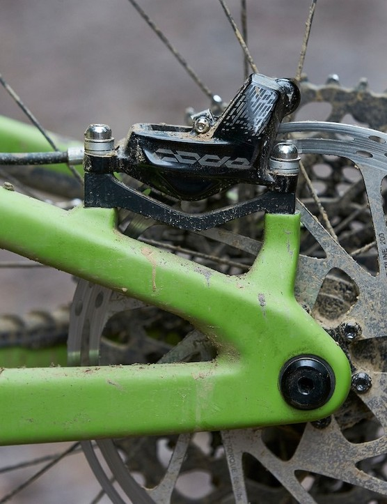 Santa Cruz Nomad CC X01 RSV uses SRAM Code RSC disc brakes with 200mm rotors