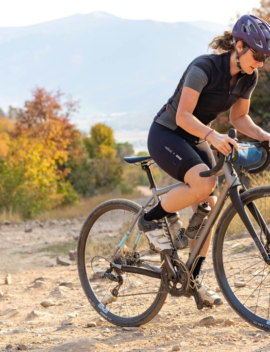Rider on gravel with AG25 wheels