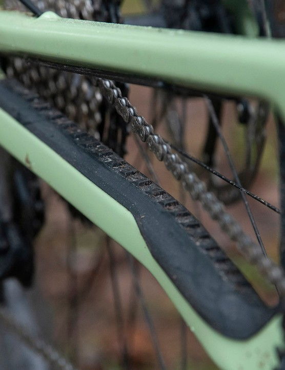 The Nukeproof Giga full suspension mountain bike has a rubberised chainstay protector and also one on the downtibe