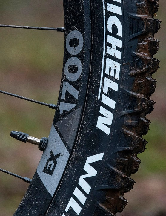 DT Swiss wheels on the Nukeproof Giga Factory full suspension mountain bike