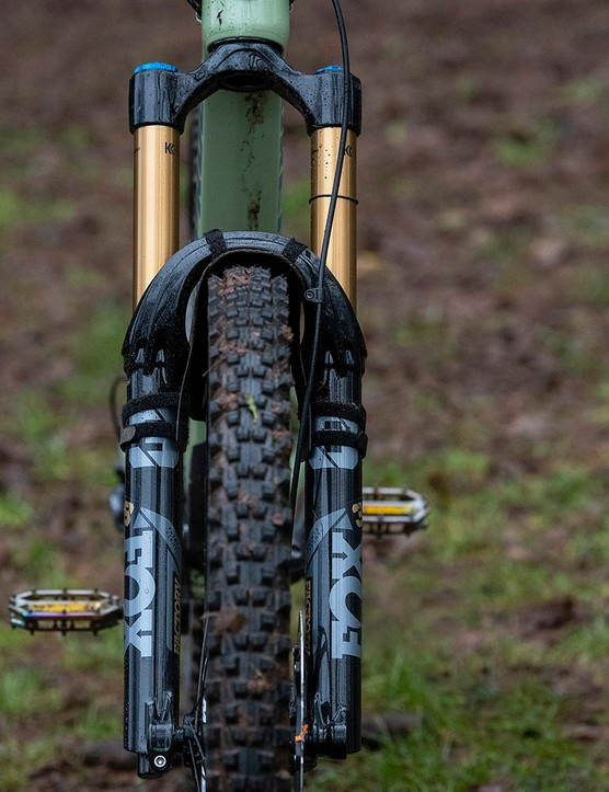 Top of the Nukeproof Giga full suspension mountain bike comes with a Fox 38 Factory fork