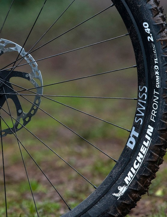 All Nukeproof Giga full suspension mountain bike models come with Michelin Wild Enduro 2.4in tyres