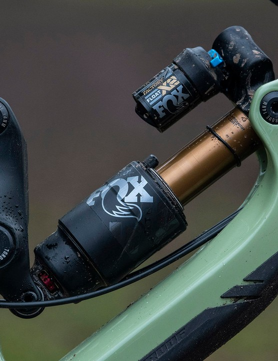 The top of the Nukeproof Giga full suspension mountain bike range comes with a Fox Factory X2 shock