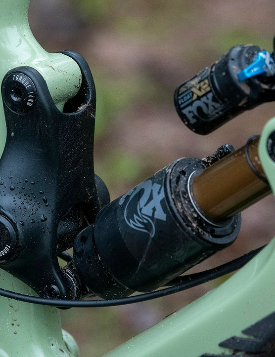 Rear shock and linkage system on the Nukeproof Giga full suspension mountain bike
