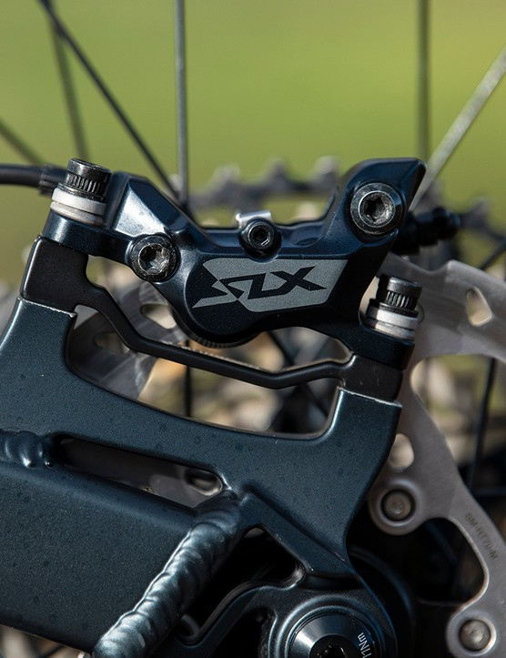 Shimano SLX brakes on the Boardman MTR 9.0 full suspension mountain bike