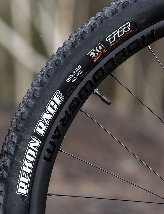 Own brand carbon wheels are wrapped in fast rolling Maxxis rubber