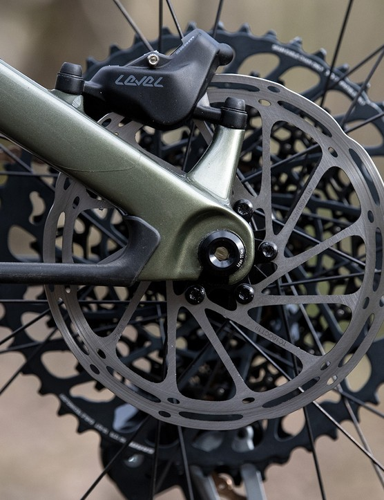 Rear brake on the Cannondale Scalpel SE LTD full suspension mountain bike