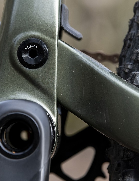 Juction at rear of the frame of the Cannondale Scalpel SE LTD full-suss mountain bike