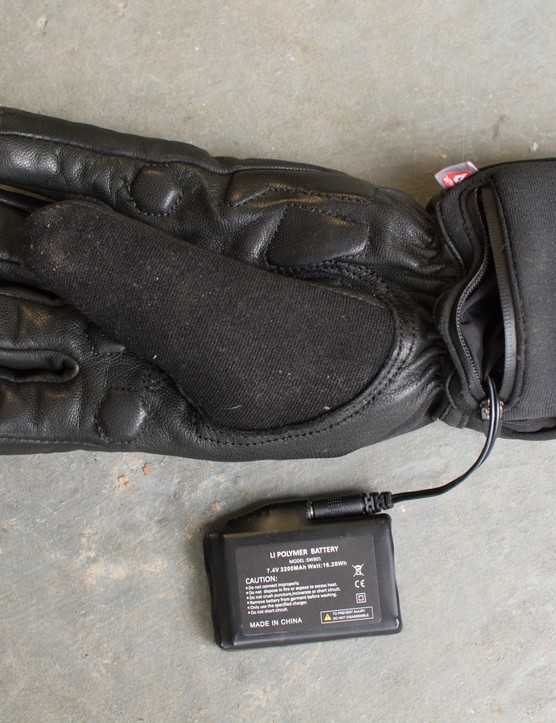 Glove with battery removed but still connected