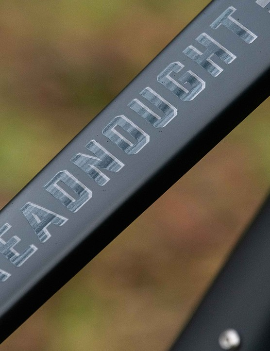 Dreadnought logo on the top tube of the Forbidden Dreadnought XT