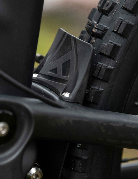 The Forbidden Dreadnought XT mountain bike has a small mudguard on the rear wheel