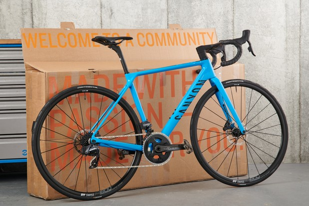 How to assemble a bike, Canyon Ultimate leant against a cardboard bike box