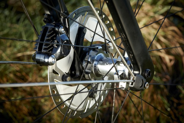 The Ribble Endurance Ti road bike is equipped with Shimano Ultegra hydraulic disc brakes