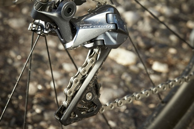 The Ribble Endurance Ti road bike is equipped with a Shimano Ultegra drivetrain